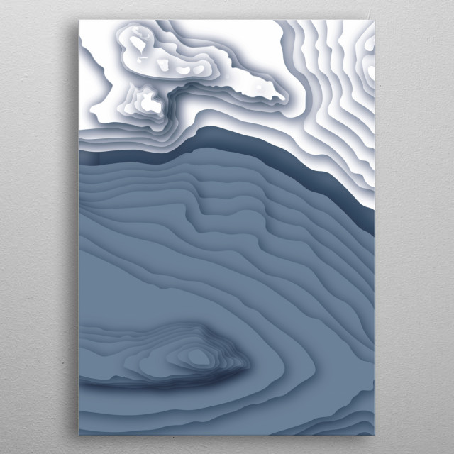 A stylised contour map of an ice shelf meeting the water made on Illustrator. Otherwise known as a topographical or relief map. metal poster