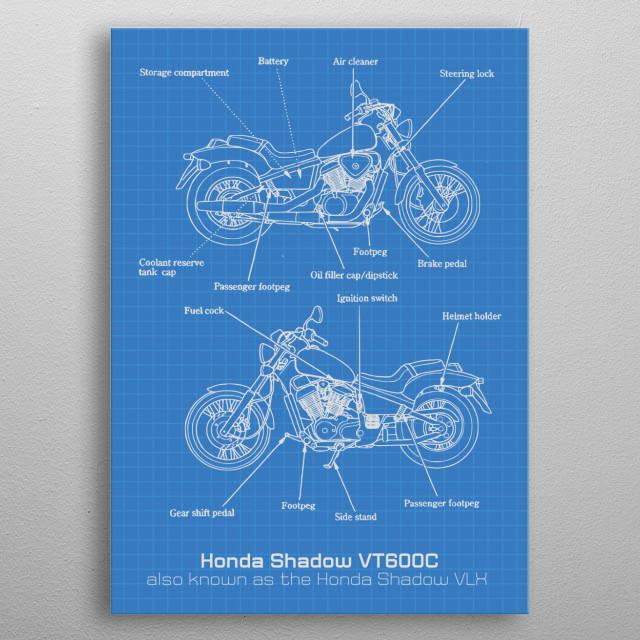 Honda Shadow VT600C VLX metal poster