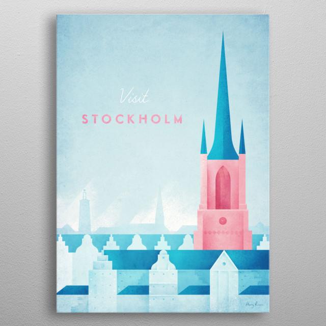 Minimal travel poster of Stockholm, Sweden by artist Henry Rivers . metal poster