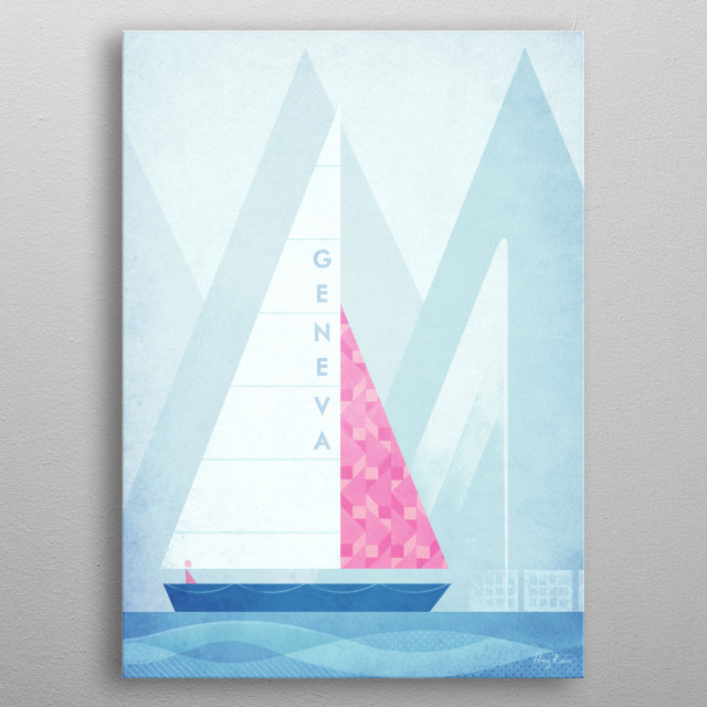 Minimal travel poster of a sail boat on Lake Geneva, Switzerland by artist Henry Rivers . metal poster