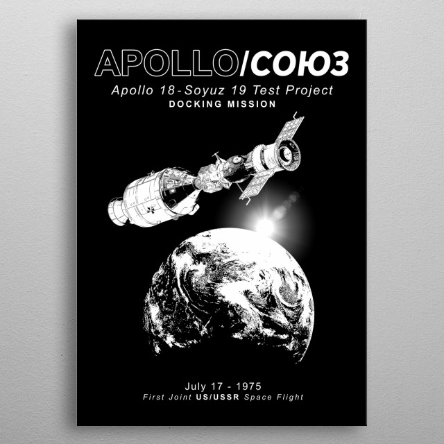 Apollo 18 Soyuz 19 docking mission -USA-USSR-1975-Space-Astronomy-Science  metal poster