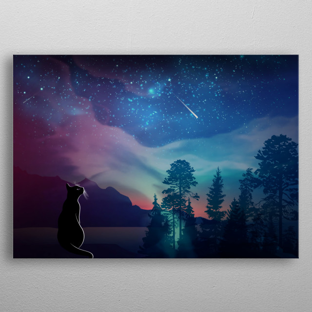 Inpired by amazing night star sky, cat is gazing on the the fallen star, making a wish come true, cat, forest, lake, night, stars metal poster