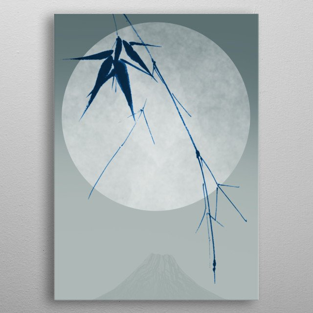 A branch of bamboo seen before a full moon over a Japanese mountain. metal poster