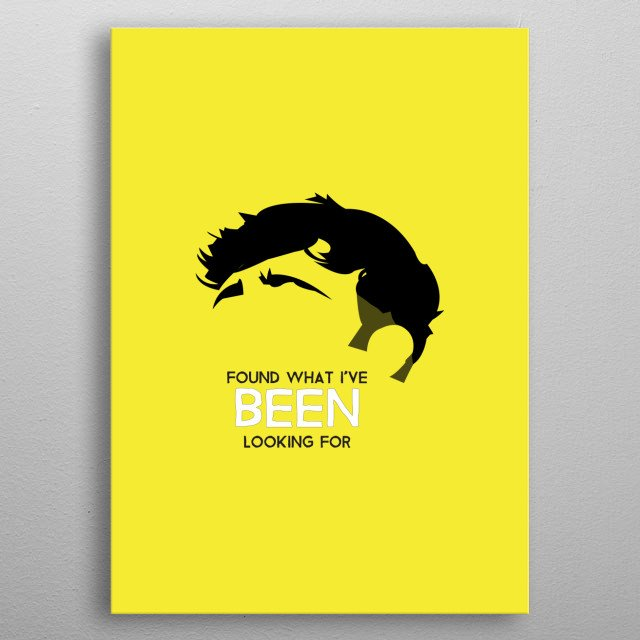 Tom Grennan on Yellow with quote from Found what I've been looking for. metal poster