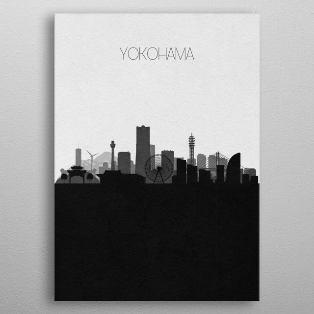 Black and white skyline illustration of Yokohama, Japan. This minimalist design features touristic landmarks and buildings of the city. metal poster