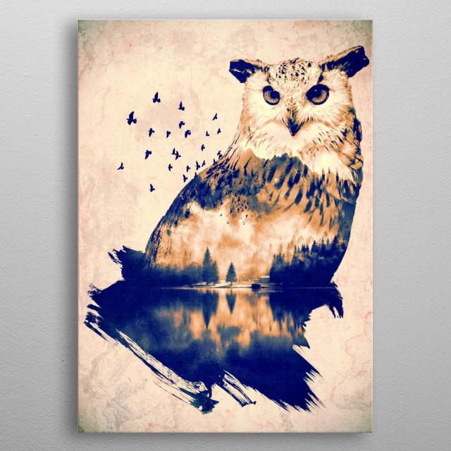 Night Guardian - Owl & Lake photo-manipulation  metal poster