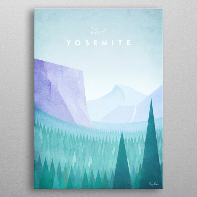 Minimal travel poster of Yosemite National Park by artist Henry Rivers . metal poster