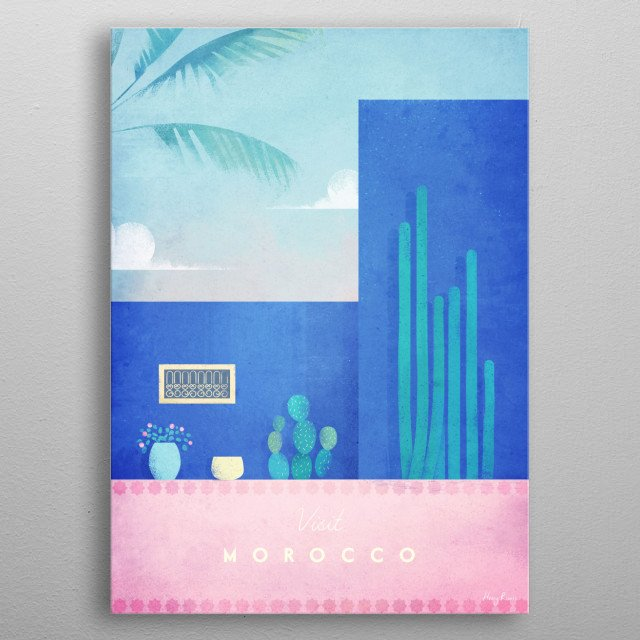 Minimal travel poster of the Majorelle gardens in Marrakech, Morocco by artist Henry Rivers . metal poster