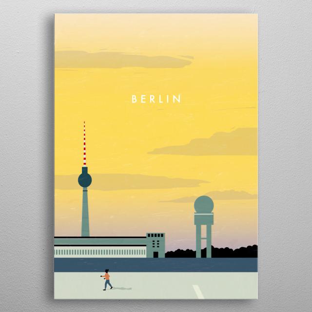 Illustration of Berlin metal poster