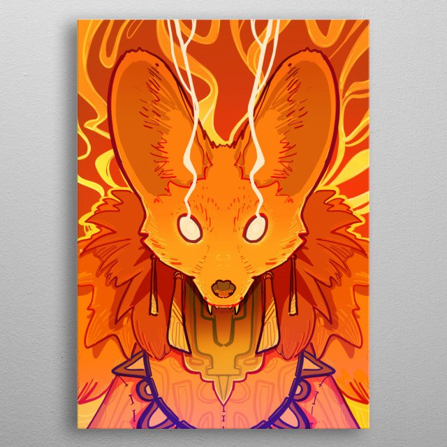 A fox, representation of the fire element. metal poster