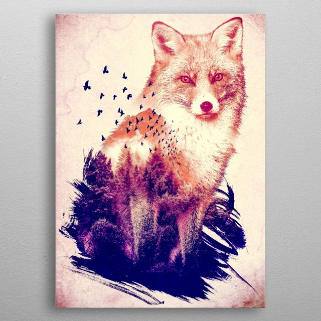 Forest Guardian - a Fox & Forest Photo manipulation/ double exposure piece metal poster
