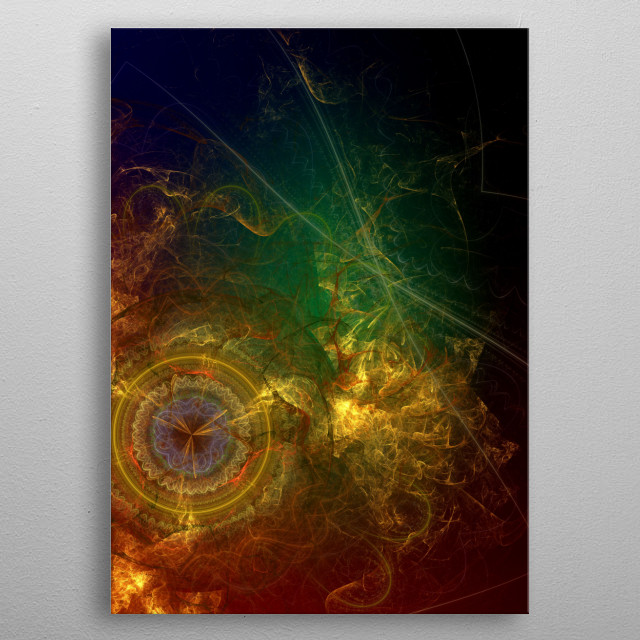 Space and Time - a fractal made in JWildFire. Hang it horizontally or vertically! metal poster