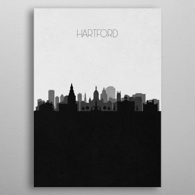 Black and white skyline illustration of Hartford, Connecticut. This minimal design features touristic landmarks and buildings of the city. metal poster