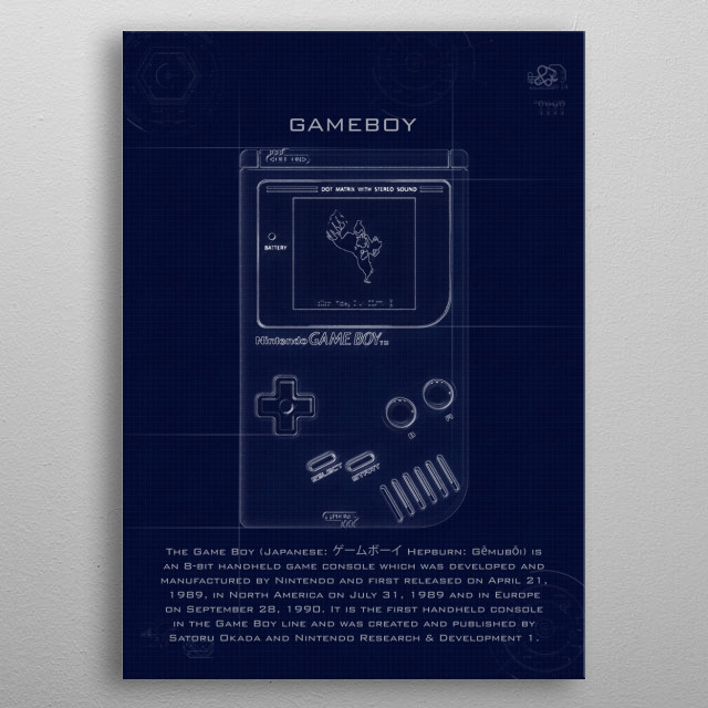 Nintendo Gameboy with blueprint effects  metal poster