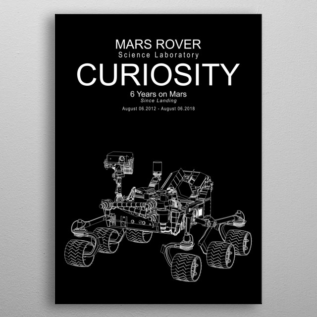 Curiosity Rover Mars Science Lab-6 Years on Mars-Space exploration-Astronomy metal poster
