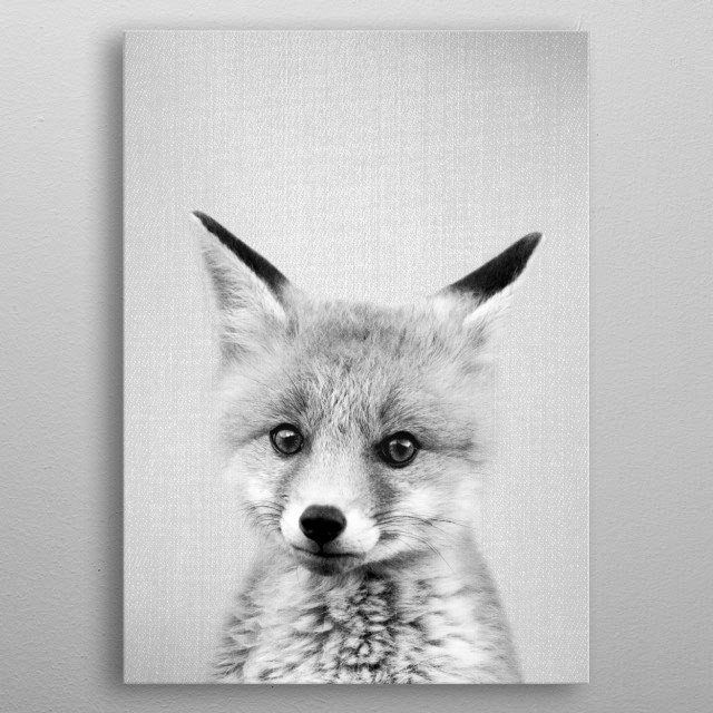 Baby Fox - Black & White. For more black & white animals check out the collection in the main page of my shop Gal Design. metal poster