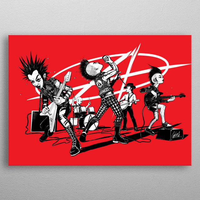 Punk Band on the rock  metal poster