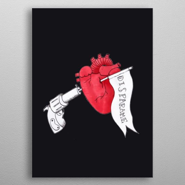 """Shoot me / Disparame"" Black. Illustration inspired on broken hearts  metal poster"