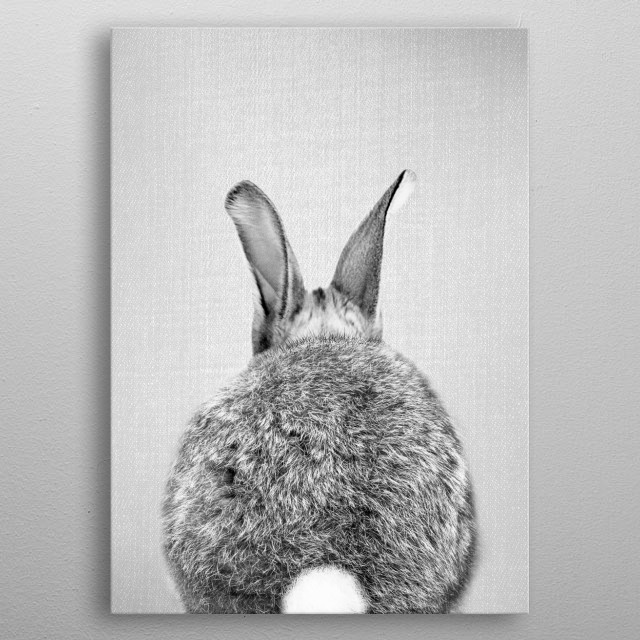 Rabbit Tail - Black & White. For more black & white animals check out the collection in the main page of my shop Gal Design. metal poster