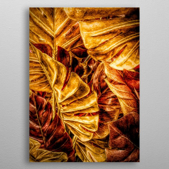 Painted Fingerphilodendron leaves in autumn colors - red, brown, yellow, orange. Made in Copenhagen, Denmark by Brian Vegas (C) 2019 metal poster