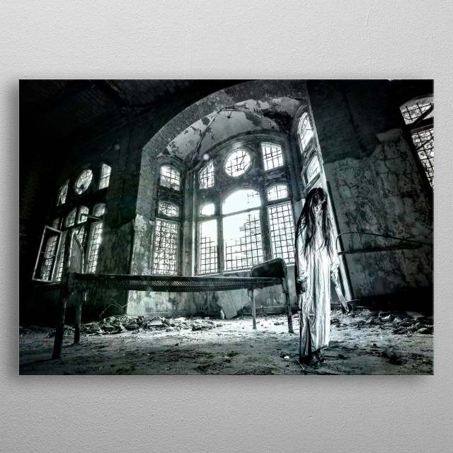 We dare you to visit and spend a night in that haunted mental asylum. Complete your halloween decoration with this theme.  metal poster