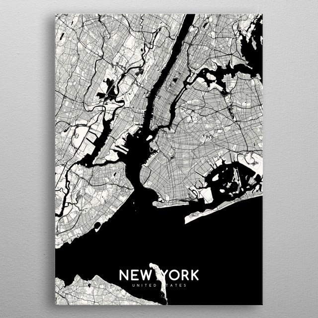NY map white metal poster