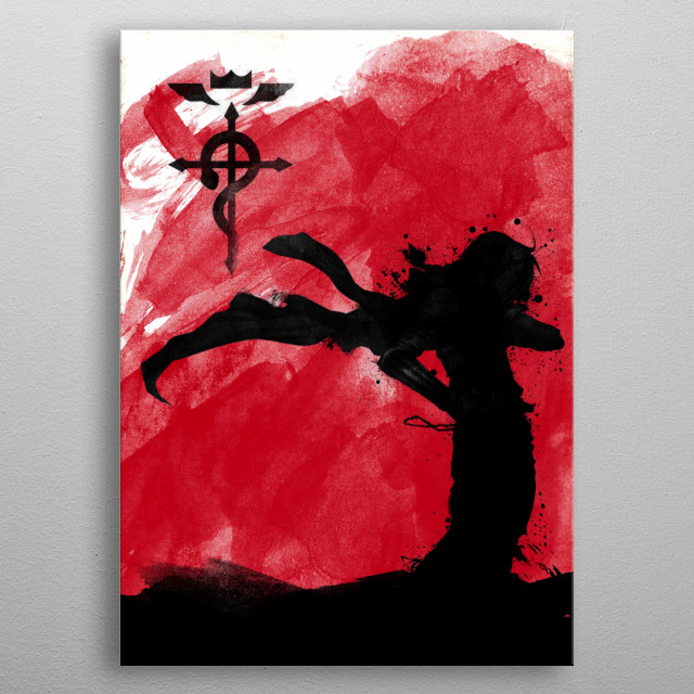 Edward Elric red metal poster