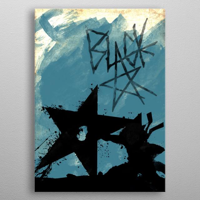 Blue Black Star metal poster