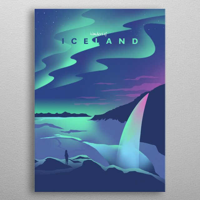 Wonders of Iceland metal poster