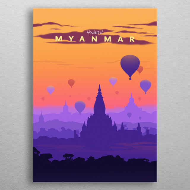 Wonders of Myanmar metal poster