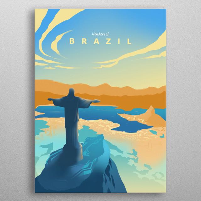 Wonders of Brazil metal poster