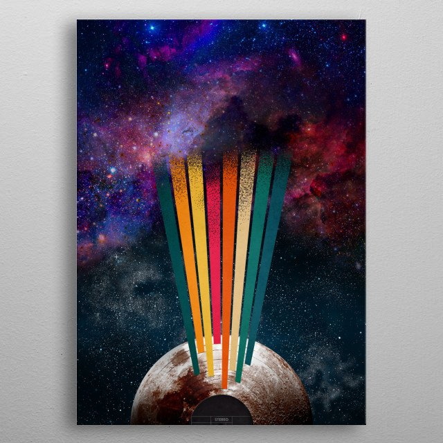 Vinyl moon radiates music waves into the cosmos. metal poster