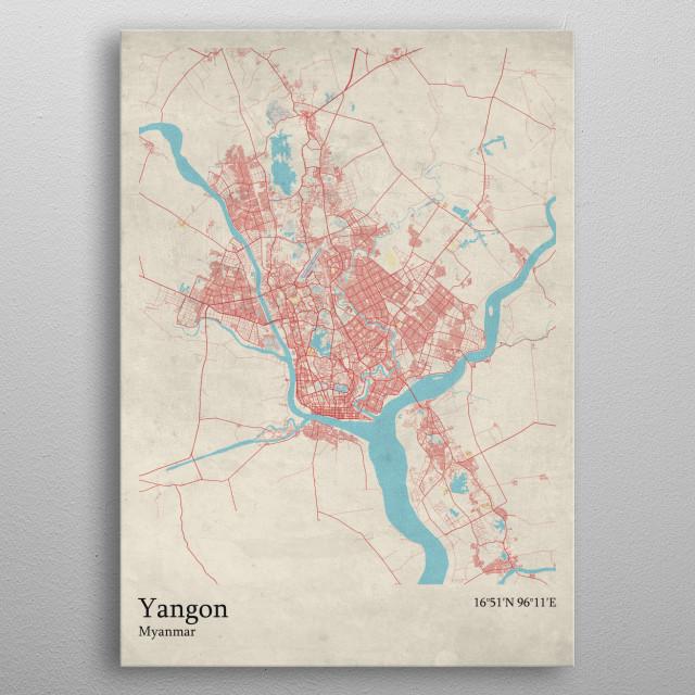 Yangon  Myanmar metal poster