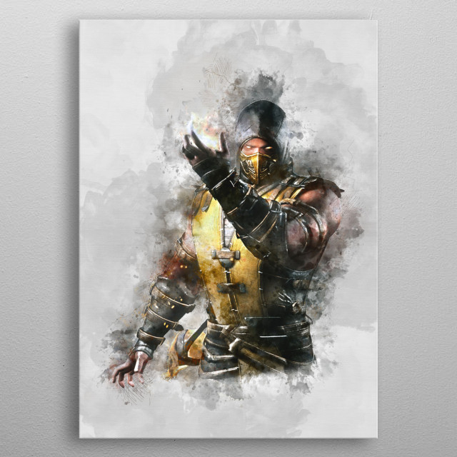 Scorpion with watercolor effects metal poster