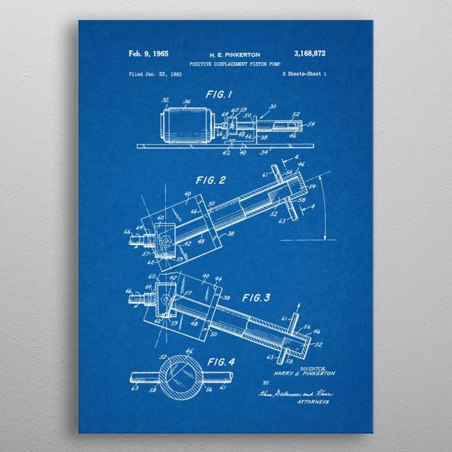 1963 Positive Displacement Piston Pump - Patent Drawing metal poster