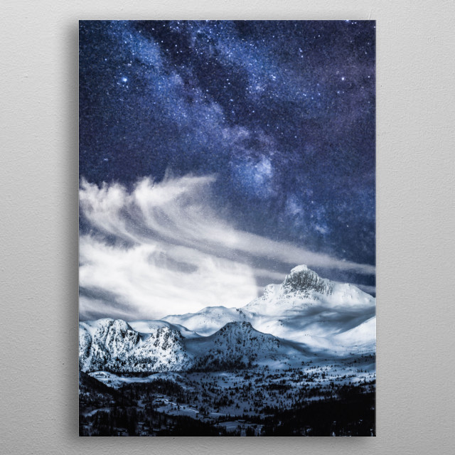 A beautiful blue milky way over the mountains  metal poster