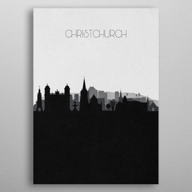 Black and white skyline illustration of Christchurch, New Zealand. This minimal design features touristic landmarks & buildings of the city. metal poster
