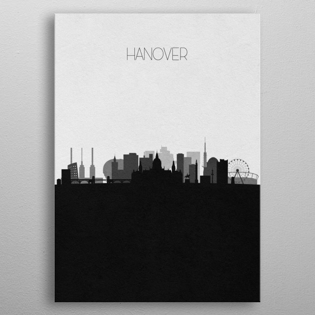 Black and white skyline illustration of Hanover, Germany. This minimalist design features touristic landmarks and buildings of the city. metal poster