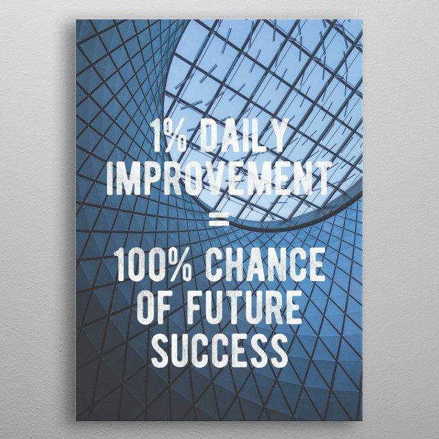 1% daily improvement = 100% chance of future success.  metal poster