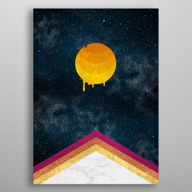 Experimental cosmic impacts with Moon melting over an abstract hot pyramid. metal poster