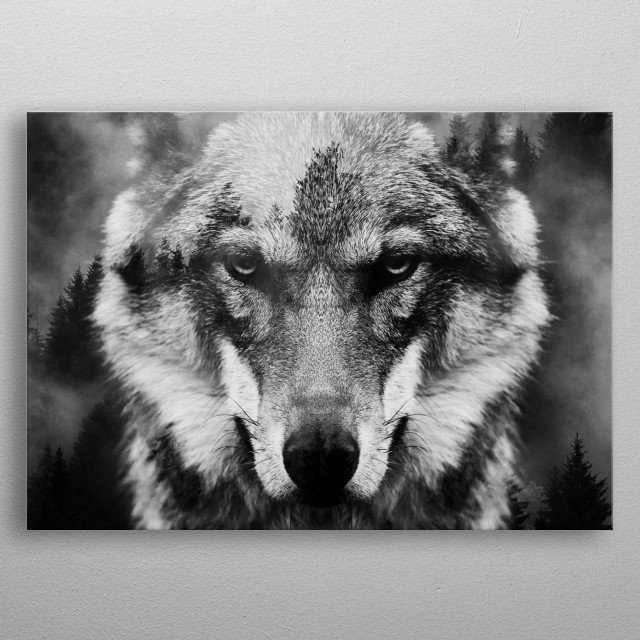 Wolf and Forest 3 metal poster