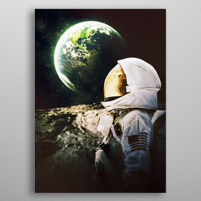 far from home, moon edition metal poster