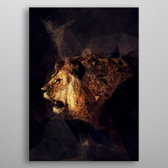 Portrait of a male lion - combination of multiple images using triangles to create the polygon effect metal poster