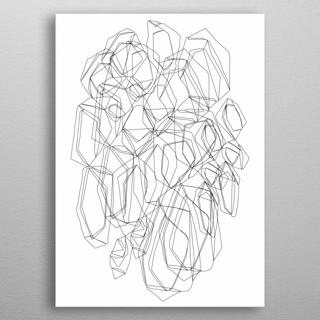 Line abstract Illustration inspired by diamonds. metal poster