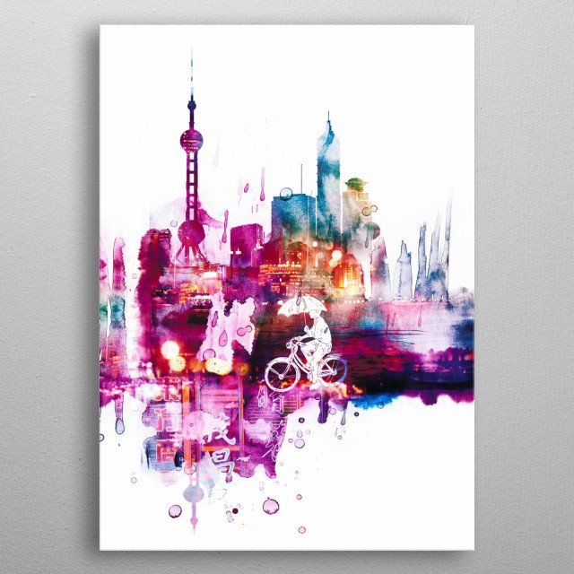 This is inspired by the raining day in Shanghai city. Love the moment of joy, vibe and the life in the city. metal poster