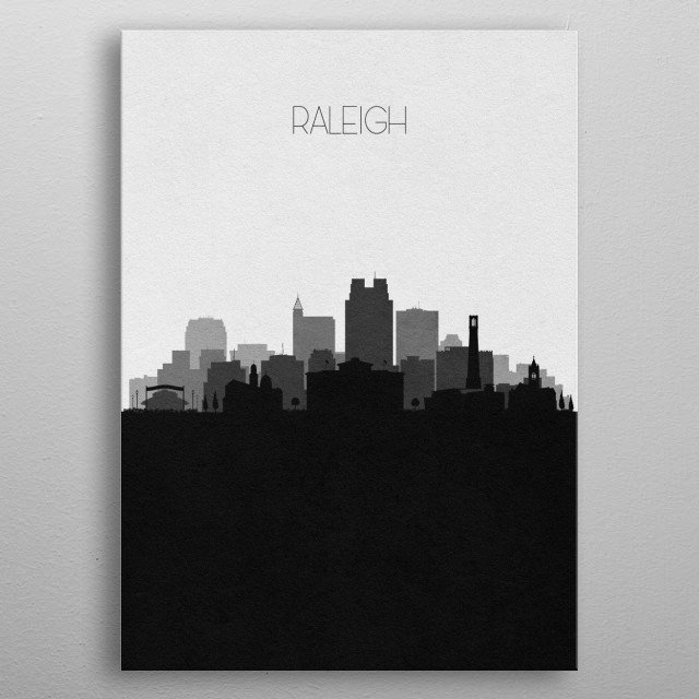 Black and white skyline illustration of Raleigh, North Carolina. This minimal design features touristic landmarks and buildings of the city. metal poster