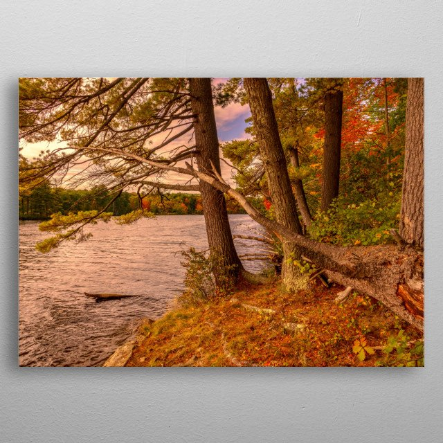 Peaceful evening down by the river watching the water flow by, thinking about. Photography by Bob Orsillo. Copyright(c)Bob Orsillo  metal poster