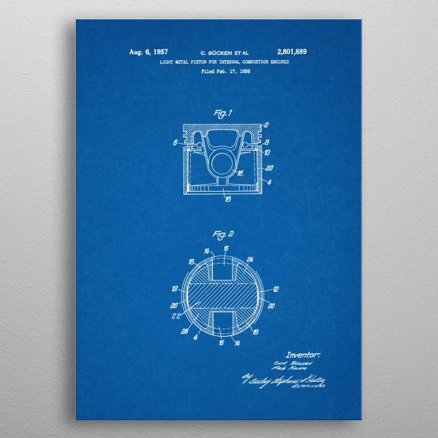 1956 Light Metal Piston Internal Combustion Engine - Patent Drawing metal poster