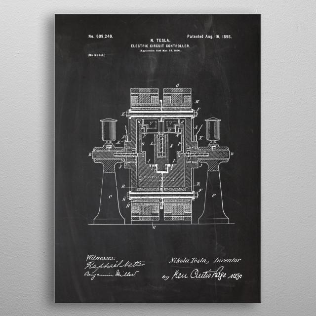 1896 N. Tesla - Electric Circuit Controller - Patent Drawing metal poster