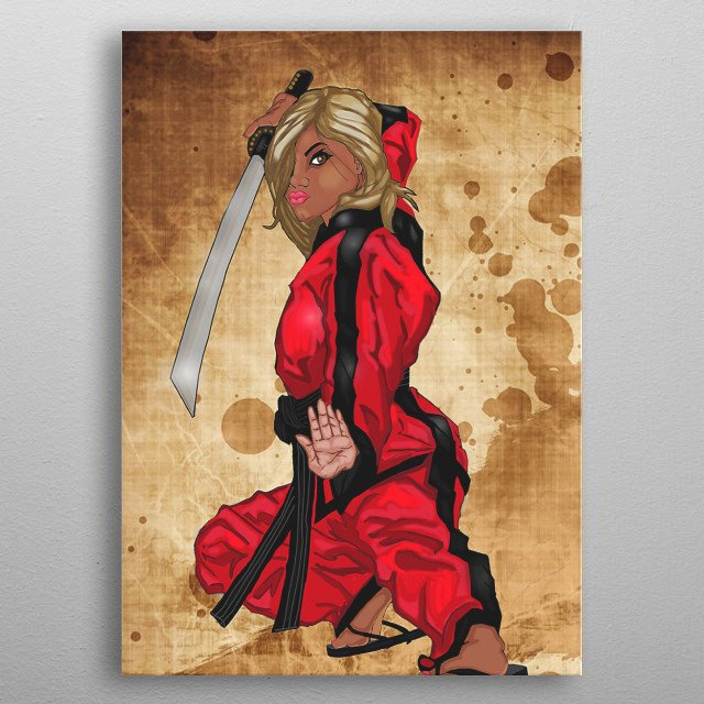 Beautiful Young Female Warrior metal poster